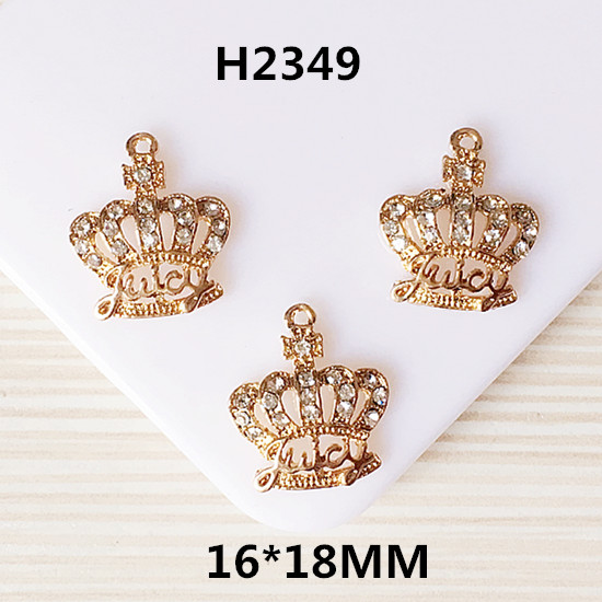 Bling Crystal Rhinetone Paved Gold Tone Alloy Charms Royal Princess King Crown Pendant C ...