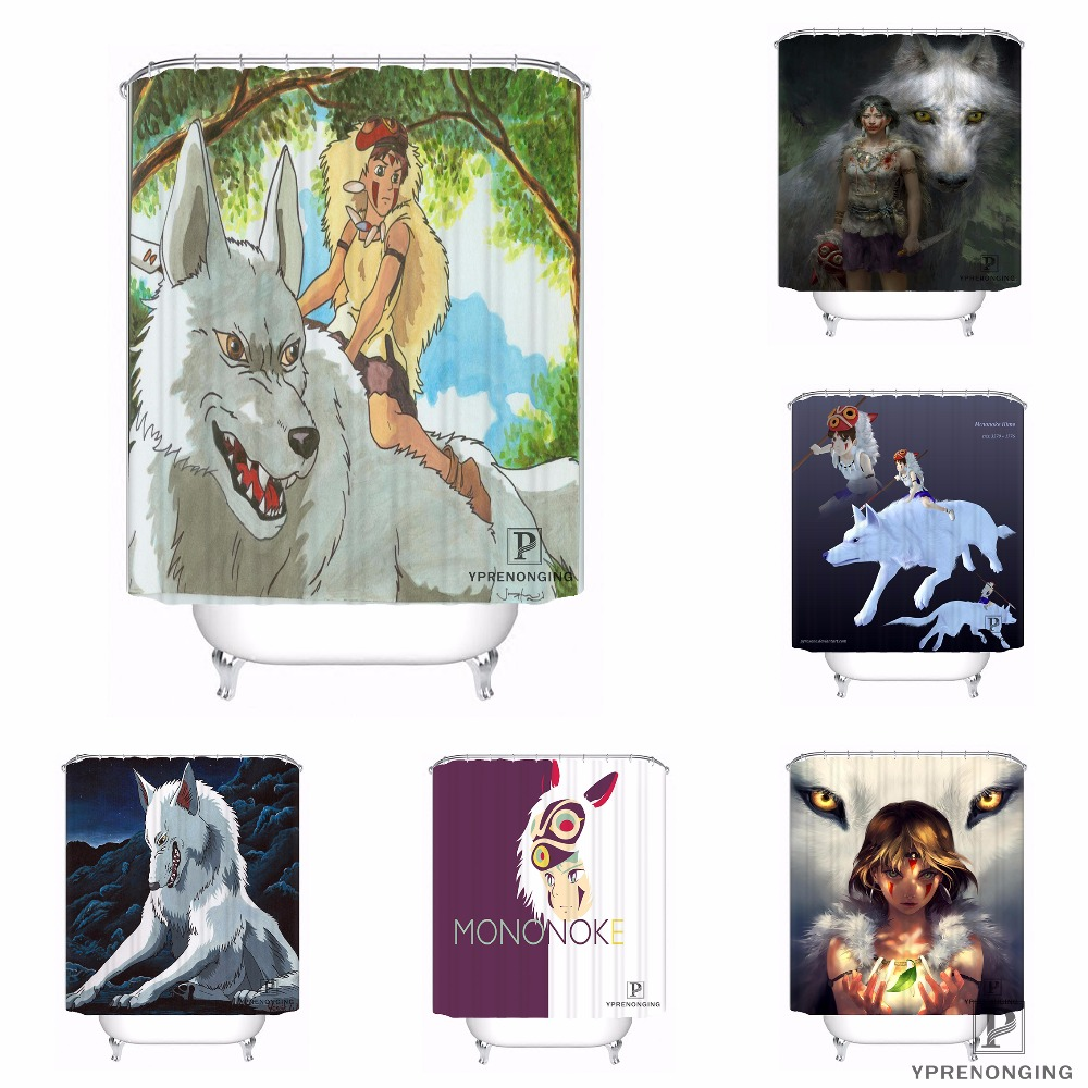 Custom Princess Mononoke Waterproof Shower Curtain Home Bath Bathroom s Hooks Polyester Fabric Multi Sizes#180421-Sina-07