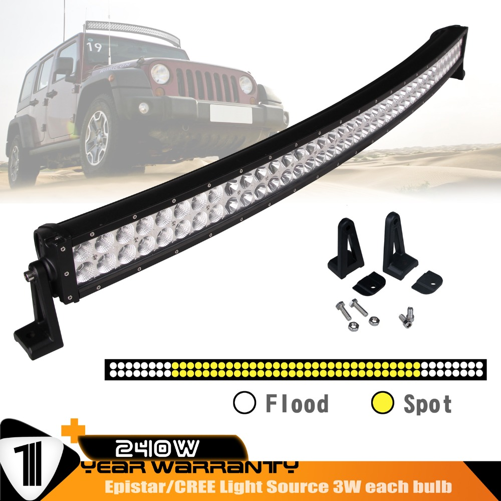 42INCH 240W Curved LED WORK DRIVING LIGHT BAR COMBO FOR OFFROAD ATV UTE 12V 24V 4x4 4WD BOAT SUV TRUCK TRAILER MILITARY TRACTOR