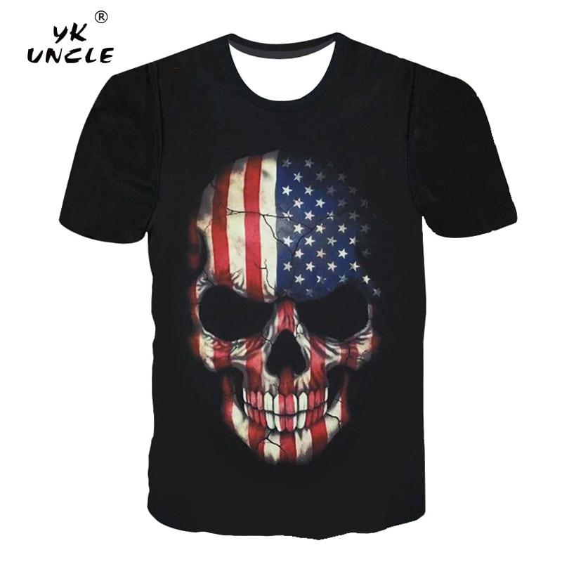 e00e3bde YK UNCLE Hip Hop Punk Rock Style Men T shirt 3D Pirate Skulls ...