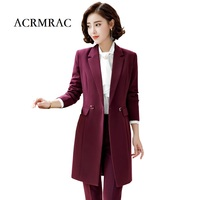 ACRMRAC Women's suits New style Winter suit Solid color Slim Long section jacket pants Business OL Formal Pant Suits