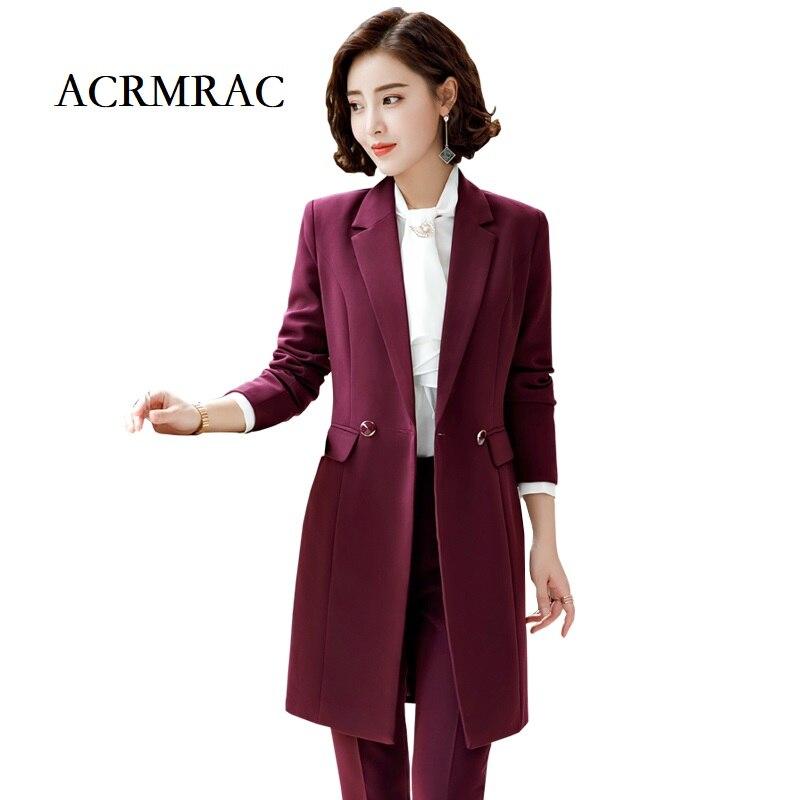 Acrmrac Frauen Anzüge Neue Stil Winter Anzug Einfarbig Schlank Langen Abschnitt Jacke Hosen Business Ol Formale Hose Anzüge Hohe QualitäT Und Preiswert