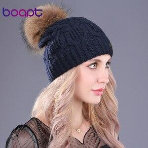 Image 3 - Bonnet en laine tricotée à Double couche
