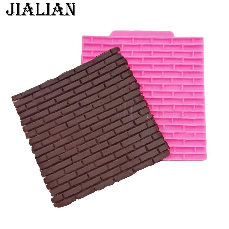 Wall Tile Silicone Molds Craft Fondant Cake Decoration Gumpaste Brick Mold Resin
