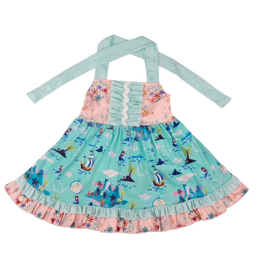Hot Sale New Design Baby Girls Lovely Dress Kids Boutique Remake Mermaid Children Dress With Romper LYQ804-128