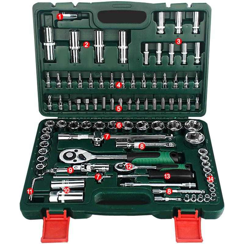 Двигатель Инструменты для ремонта автомобилей комплект 94 шт. инструмент Комбинации крутящий момент ключи ratchet шестигранного ключа механик...