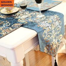 European Fashion Simple Modern Luxury Classical Blue Dinning Table Runner Bed Flags Cabinet Cloth Towel Tea TV