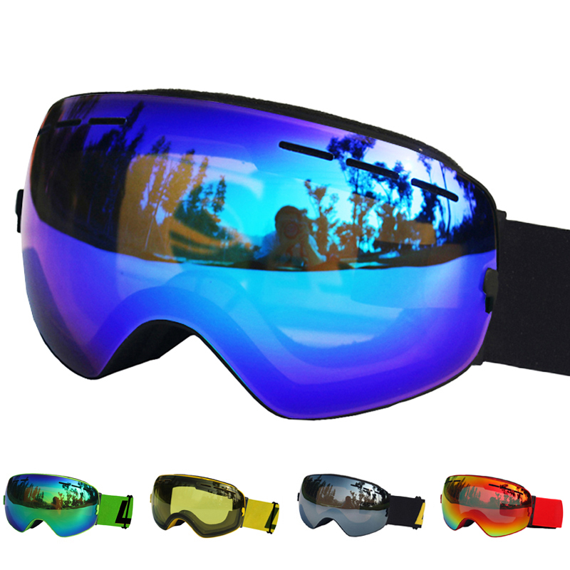 LOCLE Professional Ski Goggles Double Lens UV400 Anti-fog Adult Snowboard Skiing Glasses Men Women Ski Mask Eyewear