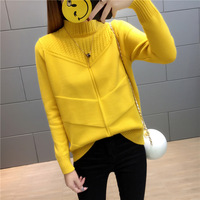 2017 New Korean Loose Short Section Turtleneck Sweater Long Sleeve Autumn And Winter Wild Thickened Quarter