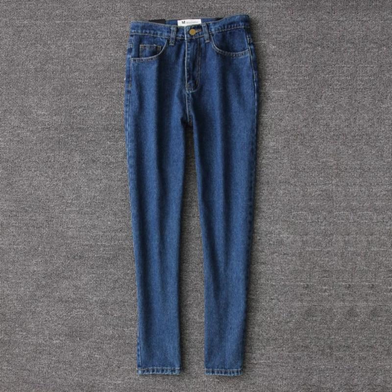 19 korean style women pencil denim pants high waist jeans woman casual vintage jeans boyfriend mom jeans light blue streetwear 17