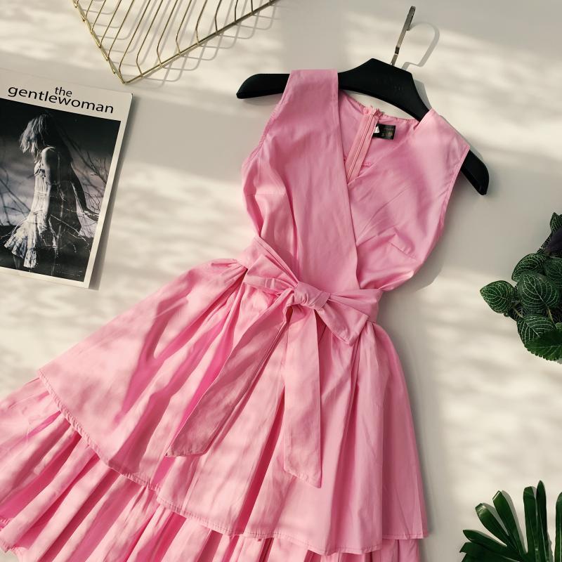Korean Vintage Pure V Collar Sleeveless High Waist Bow Tie Double Ruffle Holiday Dress Women Vestidos E348 78