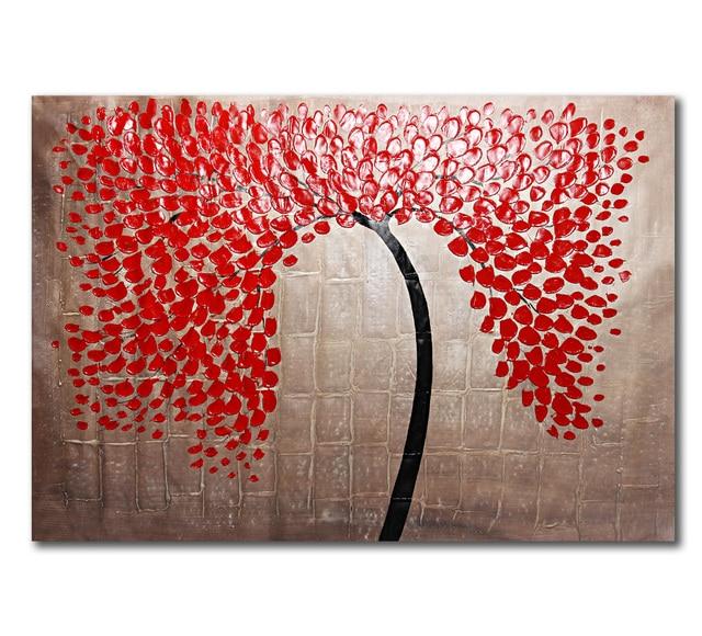 vermelho moderno da folha da árvore de paisagem pintada à mão