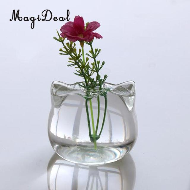 Magideal Cat Shaped Glass Vase Hydroponic Plant Flower Vase