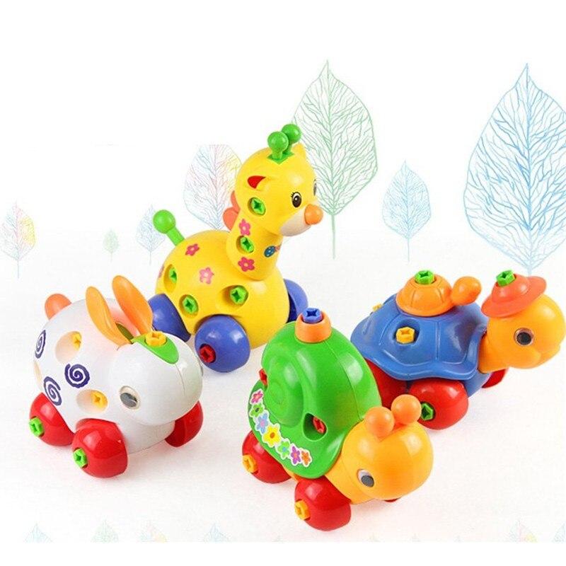 Merakit Kartun Kelinci Jerapah Kura Kura Siput Hewan Mainan Plastik