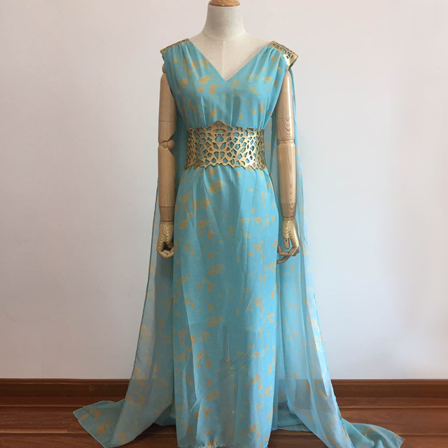 Juego de tronos cosplay daenerys targaryen disfraz vestido azul fantasía halloween Disfraces mujeres vestido talla grande S-2XL