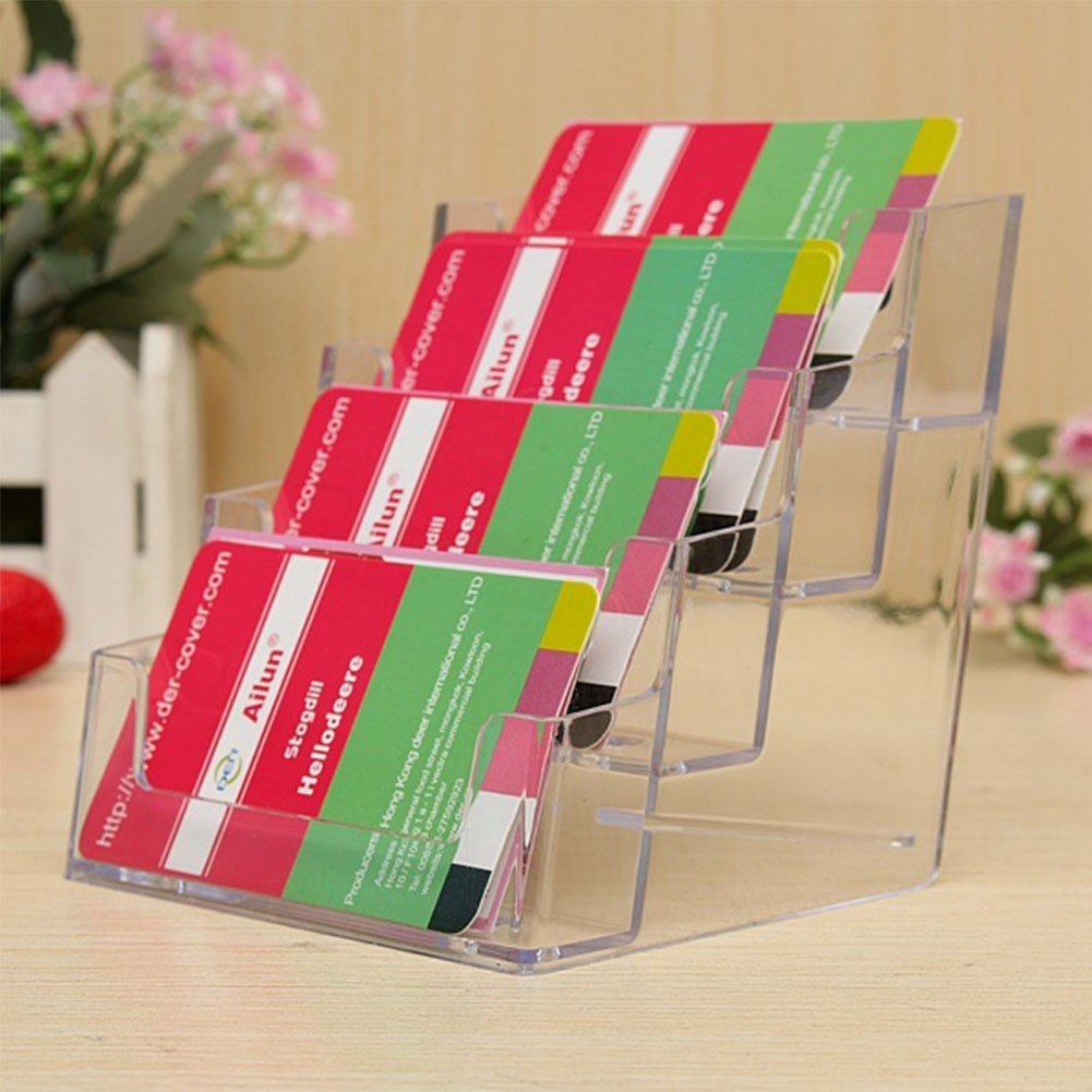 Office Cards Holding Tool Four Pockets Clear Desktop Office Counter ...