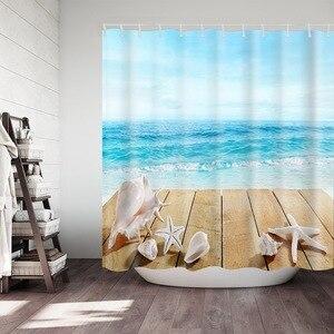 Image 4 - Biển In Chống Nước Màn Tắm Polyester Vải Màn Tắm Bạch Tuộc Có Thể Rửa Nhà Tắm Trang Trí Rèm Cửa Với 12 Móc