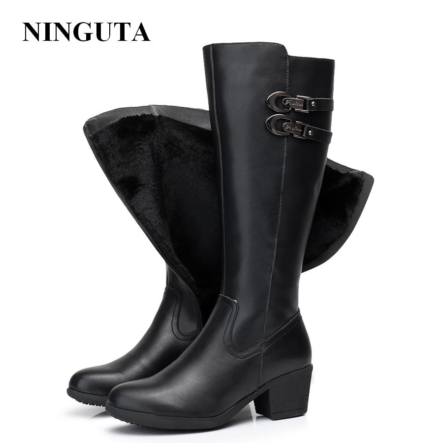 купить NINGUTA leather knee high winter boots women high heels fashion women boots по цене 3231.92 рублей