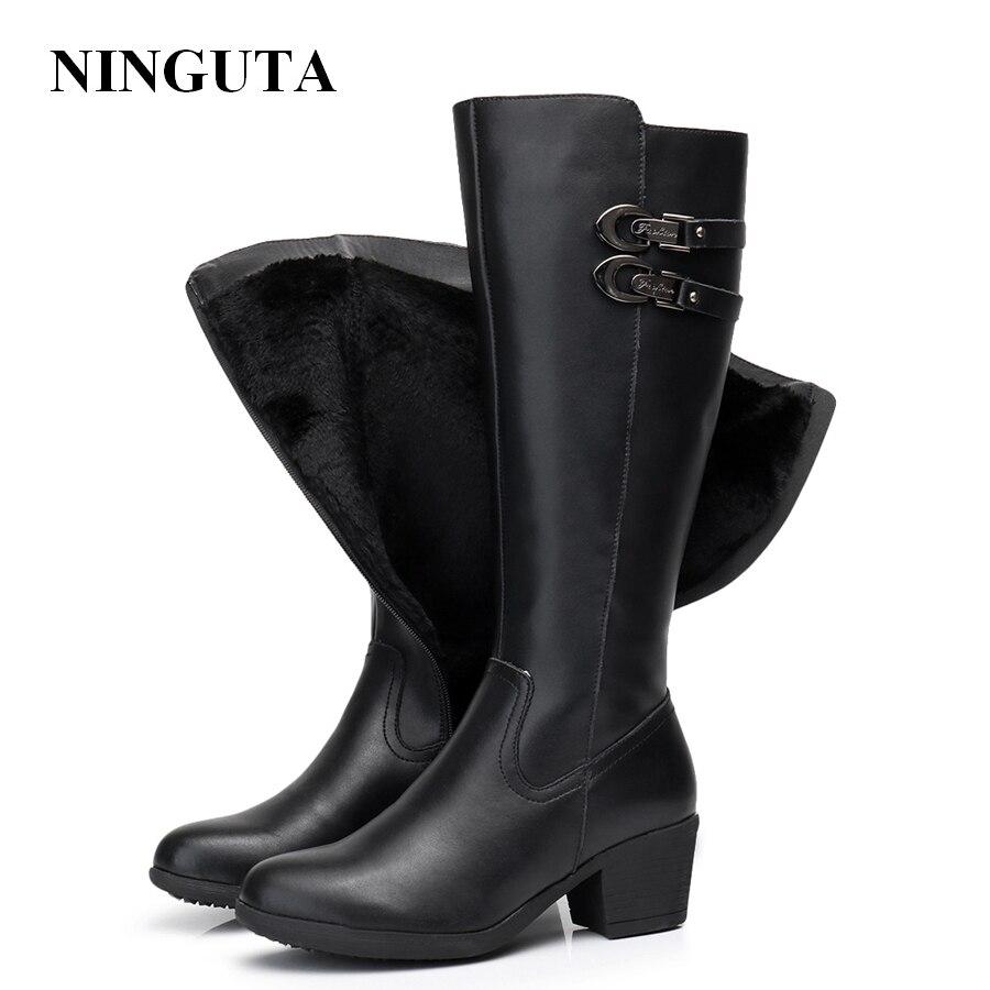 Ninguta кожаные сапоги до колена зимние ботинки женские на высоком каблуке Модные женские ботинки