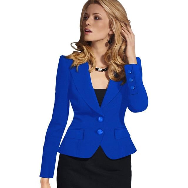 88981b8d078 High Quality Spring Autumn Women Blazer Long Sleeve Turn Down Collar Wear  to Work Business Office Womens Tops Outwear Jacket
