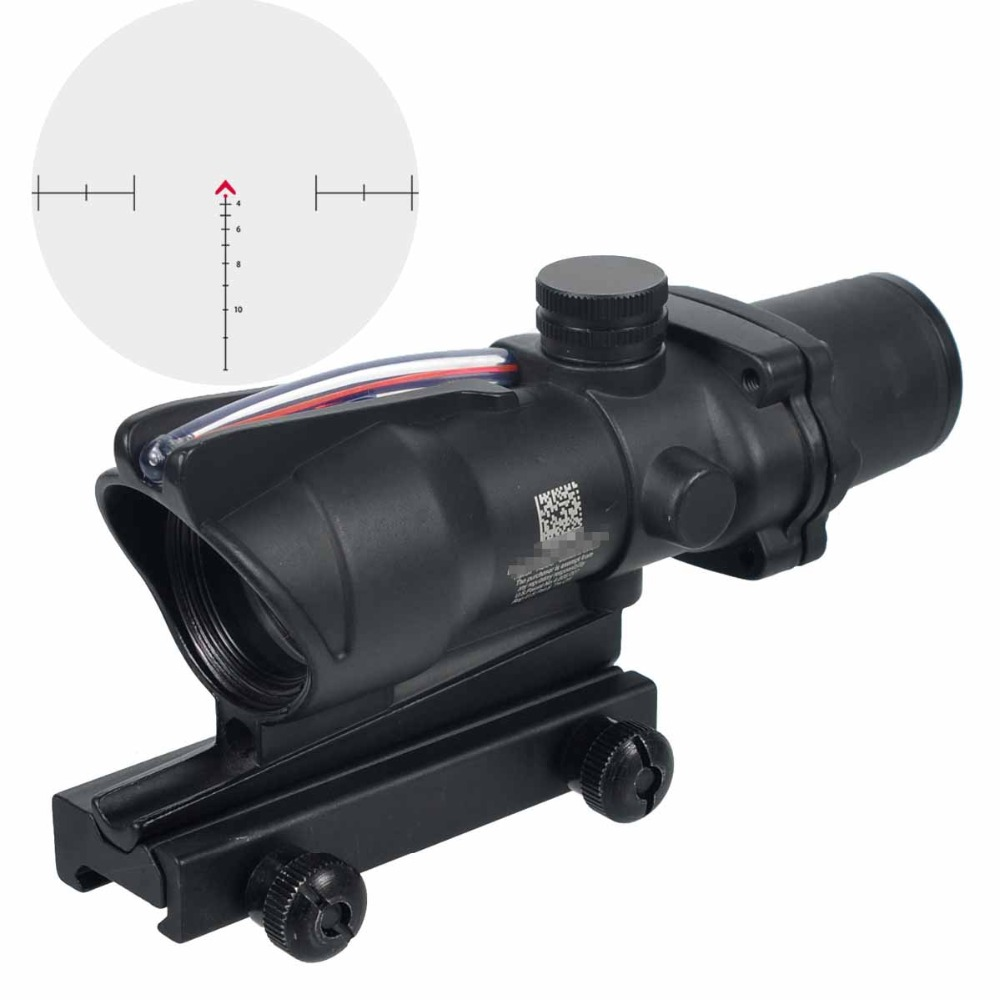 Hunting Riflescope ACOG 4X32 Real Fiber Optics Red Green Illuminated Chevron Glass Etched Reticle Tactical Optical Sight 4x32 hunting real optical fiber scope red green glass etched bdc or chevron reticle sights