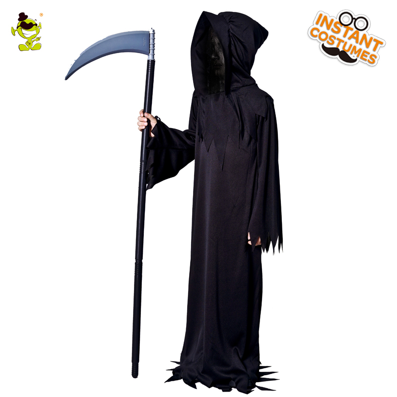 Boys Grim Reaper Costumes Kids Scary Devil Role Play Fancy