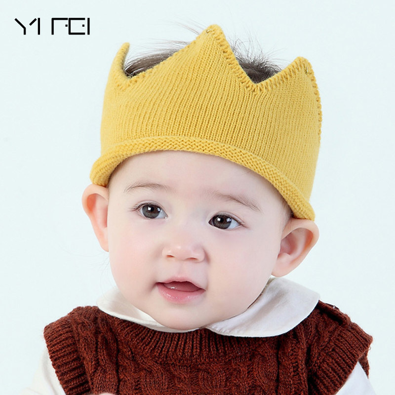 Kids Baby King Great Crown  Hats Children Sweater Birthday Hat Kid Girls Boys Knitted Caps Lovely Beanie  Photo Props Hat