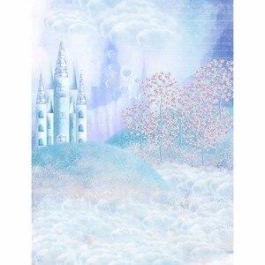 Image 2 - Fond de photographie Allenjoy fantastique château arbre pelouse nuages contexte de style conte de fées Photo studio caméra fotografica