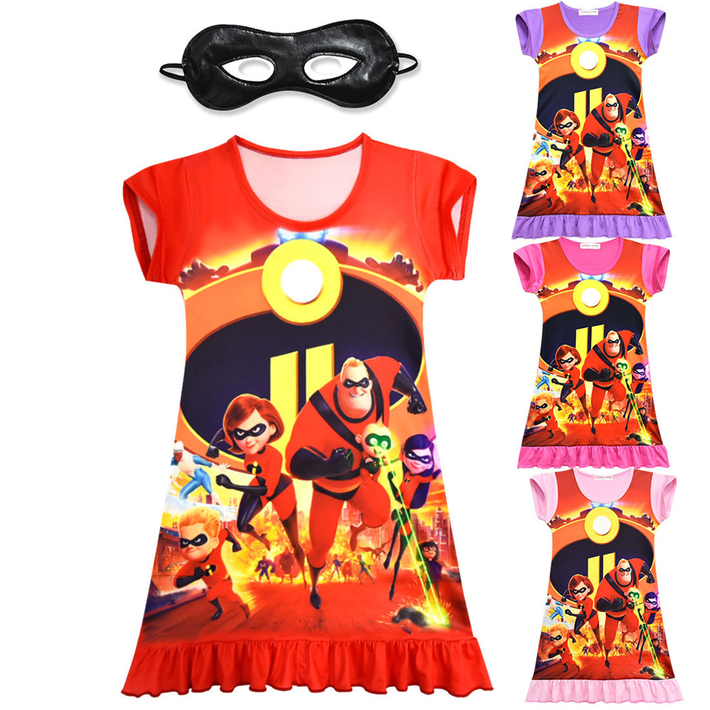 Cosplay The Incredibles 2 Cartoon kids child girls dress Set/mask bob parr Elastigirl He ...