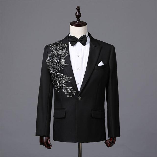 Chaqueta floral con apliques para hombre chaqueta femenina masculina para  Hombre Ropa de escenario terno masculino ab9c100b3e6