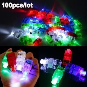 100 Pcs / Lot LED Finger Lights Glowing Dazzle Colour Laser Emitting Lamps Christmas Wedding Celebration Festival Party decor
