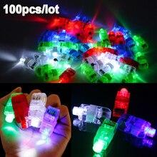 Lote de luces LED para dedos, 100 unidades por lote, lámparas brillantes con láser de color, para Navidad, boda, celebración, Festival, decoración de fiesta