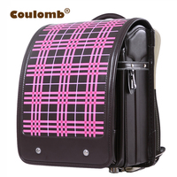 Coulomb Children's Striped Backpack Orthopedic Japanese PU Student School Bag Hasp High Quality Kid Randoseru Bags 2017 New
