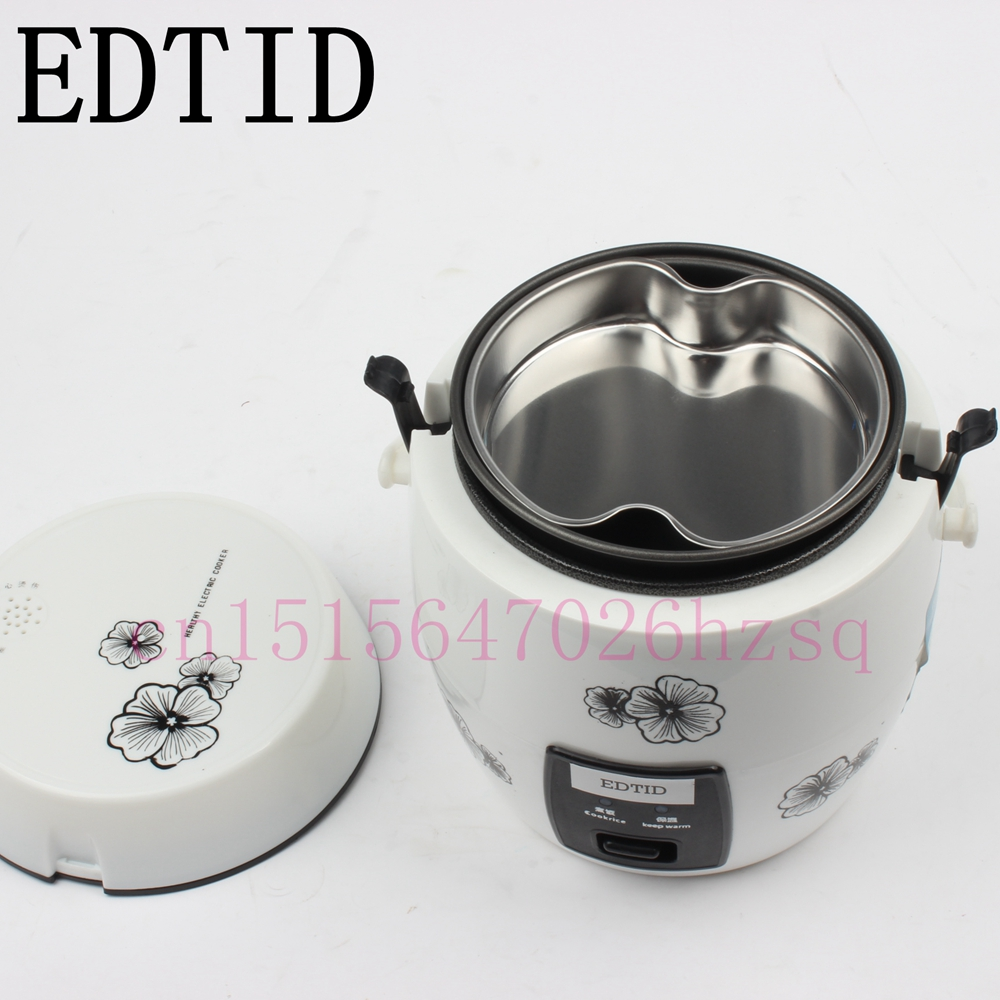 EDTID 1.2L Portable electric rice cooker multi cooker house or car enough for 1-2 persons mini cukyi 270w household electric rice machine keep warm double layers multi purpose rice cooker