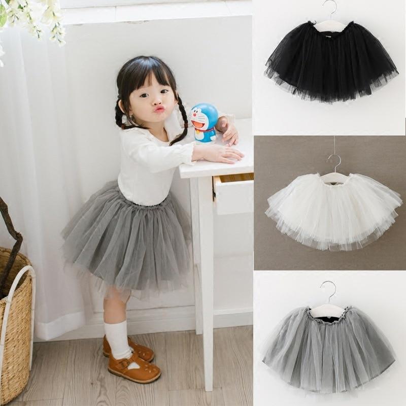 1-3Y Kids TUTU Skirt Baby Girls Party Skirt with Tulle Knee-Length Toddler Girls TUTU Skirts White/Pink/Gray/Yellow Wedding tutu