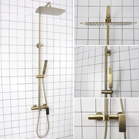 Brushed Gold/Matte Black Rain Shower Set Bathroom Cold And Hot Water Mixer Shower Faucet Wall Mounted Brass 3 function Shower
