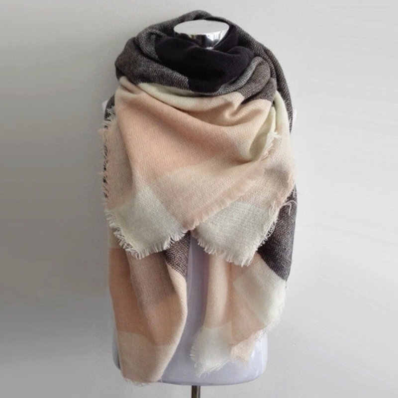 Za warm blanket scarf big square winter scarves hot sale plaid women Scarf Acrylic Shawls bufandas warm cashmere scarf