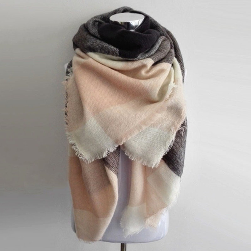 Za Warm Blanket Scarf Big Square Winter Scarves Hot Sale Plaid Women Scarf Acrylic Shawls Bufandas Luxury Cashmere Scarf