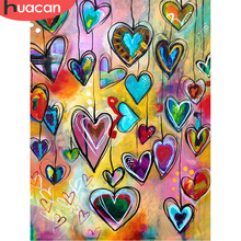 HUACAN DIY 5D Diamond Painting Geometric Love Heart for Bedroom Decor Full Square Mosaic Embroidery Festival Gifts