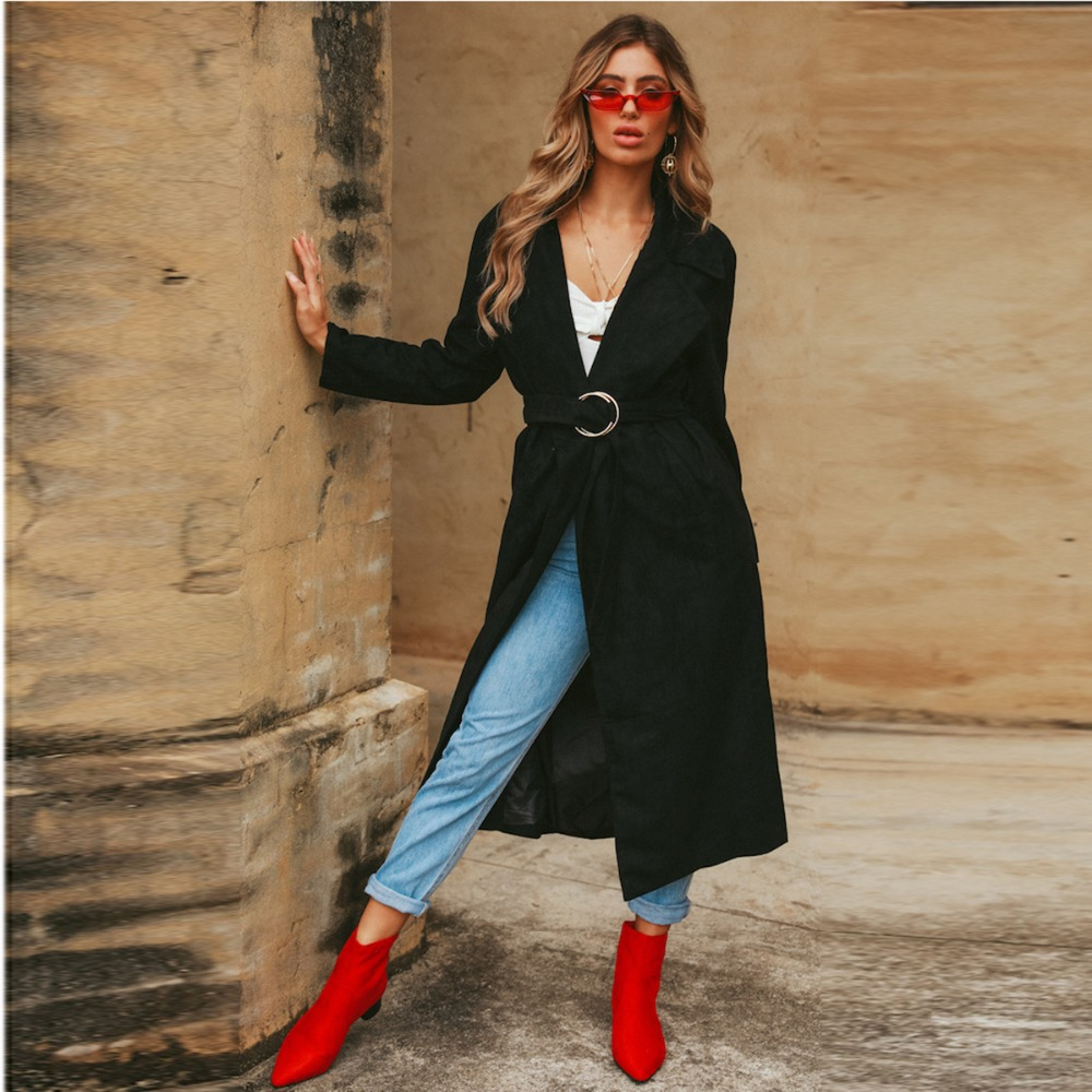 Femmes Faux Ceinturée Outwear Picture Manteaux Longueur Automne Veau Noir Col Laine Dames As Manches À Formelle Élégant Entaillé Longues Pour Midi Wrap Ol RWW4PqX