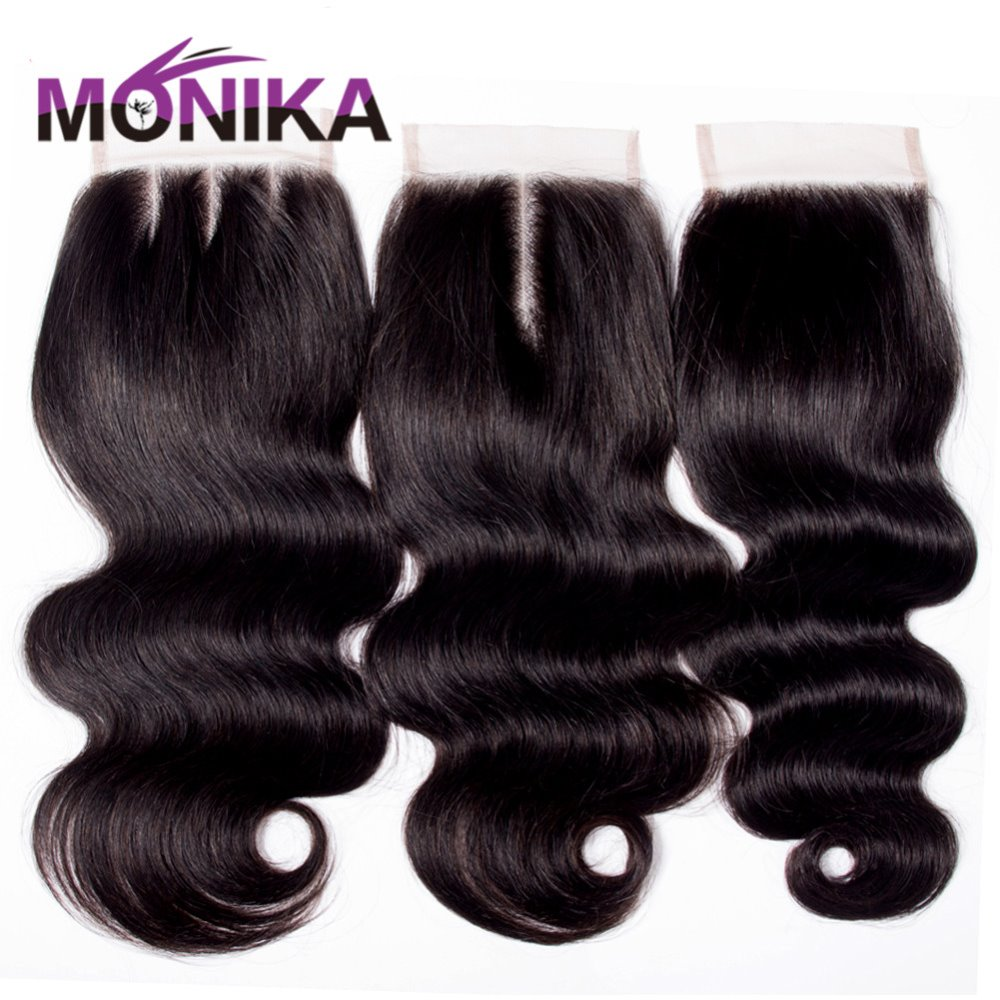 Monika Hair Brazilian Body Wave Closure Hair Weave 4x4 Lace Closure Free/Middle/Three Part Swiss Lace Closure Natural Color