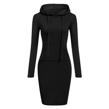 Women Solid Pencil Pullover Slim Hooded Long Sleeve Cotton Blend Hoodie Spring Autumn Dress Red Gray Black Casual Fashion autumn winter men s slim cotton blend velvet hooded sweater gray l