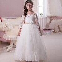 Długi Rękaw Koronki Kwiat Dziewczyny Suknie Na Wesela Nowy 2016 Suknia Balowa Tulle Vintage Biały Pierwsza Komunia Sukienka Dla Małych dziewczyny