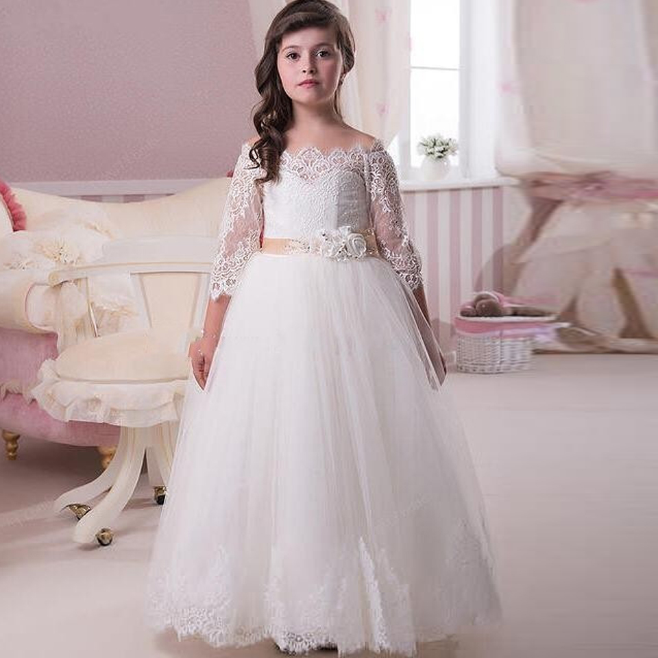 Long Sleeve Lace Flower Girls Dresses For Weddings New 2016 Ball Gown Tulle Vintage White First Communion Dress For Little Girls fancy pink little girls dress long flower girl dress kids ball gown with sash first communion dresses for girls