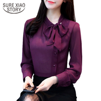 2018 New Bow Neck Women S Clothing Spring Long Sleeved Chiffon Women Blouse Shirt Solid Purple