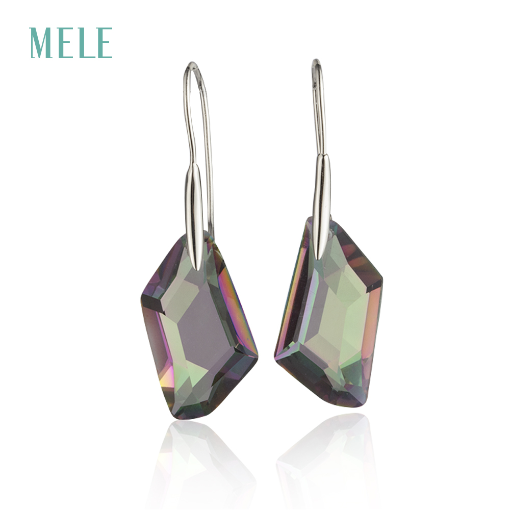 MELE Natural mystic quarts silver earring 13mm 24mm irregular shape professional cutting skill the best choice