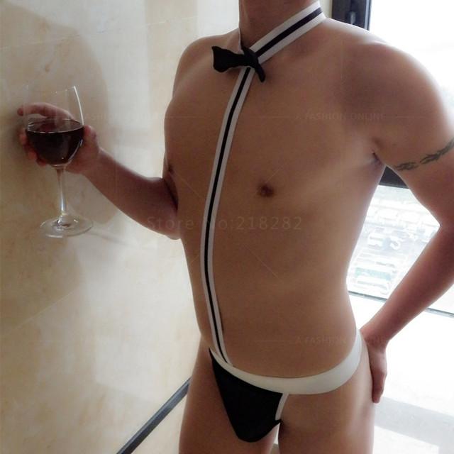 Dos homens Venda quente Roupa Interior Sexy Mankini Thong G-corda dos homens Suspensórios Jogar Traje Garçom/Gay Lingerie borat
