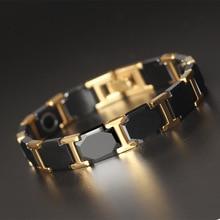 Korean Male Tungsten Gold Steel Bracelet High-end Fashion Ceramic Magnet Health Hand Spot