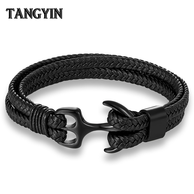 Charm Multilayer Men Leather Bracelet Black Gold Silver Stainless Steel Survival Rope Anchor Bracelets for Men Male Jewelry GiftCharm Multilayer Men Leather Bracelet Black Gold Silver Stainless Steel Survival Rope Anchor Bracelets for Men Male Jewelry Gift