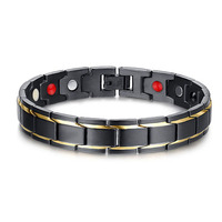Black and Gold Mens Stainless Steel Health Bracelets with magnets germanium infrared stone Ion 4 in 1 Energy Magnetic Bracelet